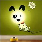 宝宝卧室墙纸卡通斑点狗壁灯